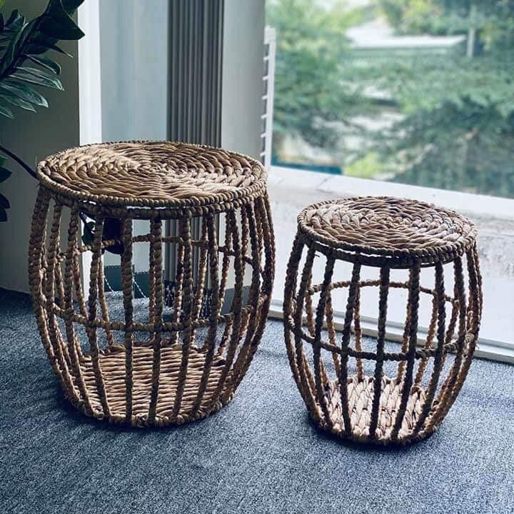 Hot Trendy New Arrival Water Hyacinth Water Grass Straw Table Basket For Eco Living Home Decoration Furniture