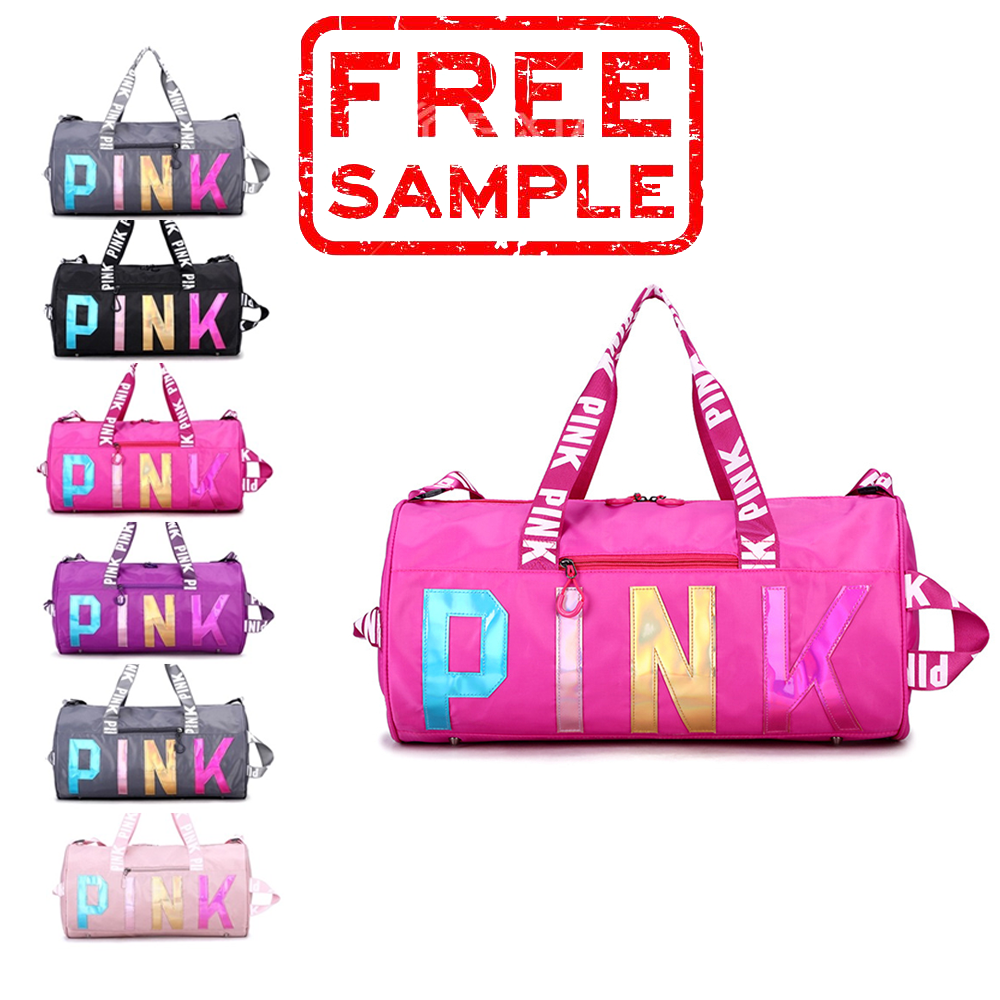 Free sample Wholesale custom fashion logo foldable sport gym women mens waterproof travel duffel bag pink duffel bag duffle bag