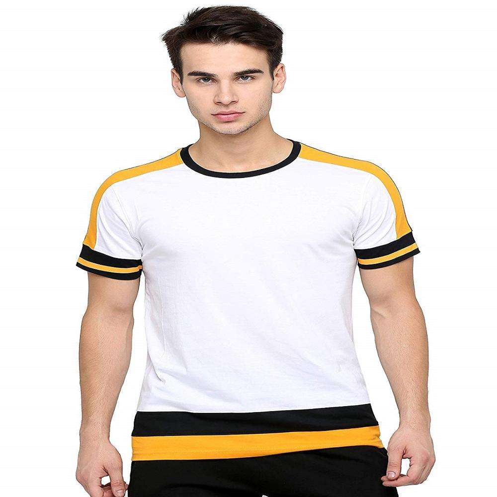 New Arrival Custom Casual Slim Fit Solid Color Contrast 100% Cotton T shirt For Men's With Discount Price From Bangladesh