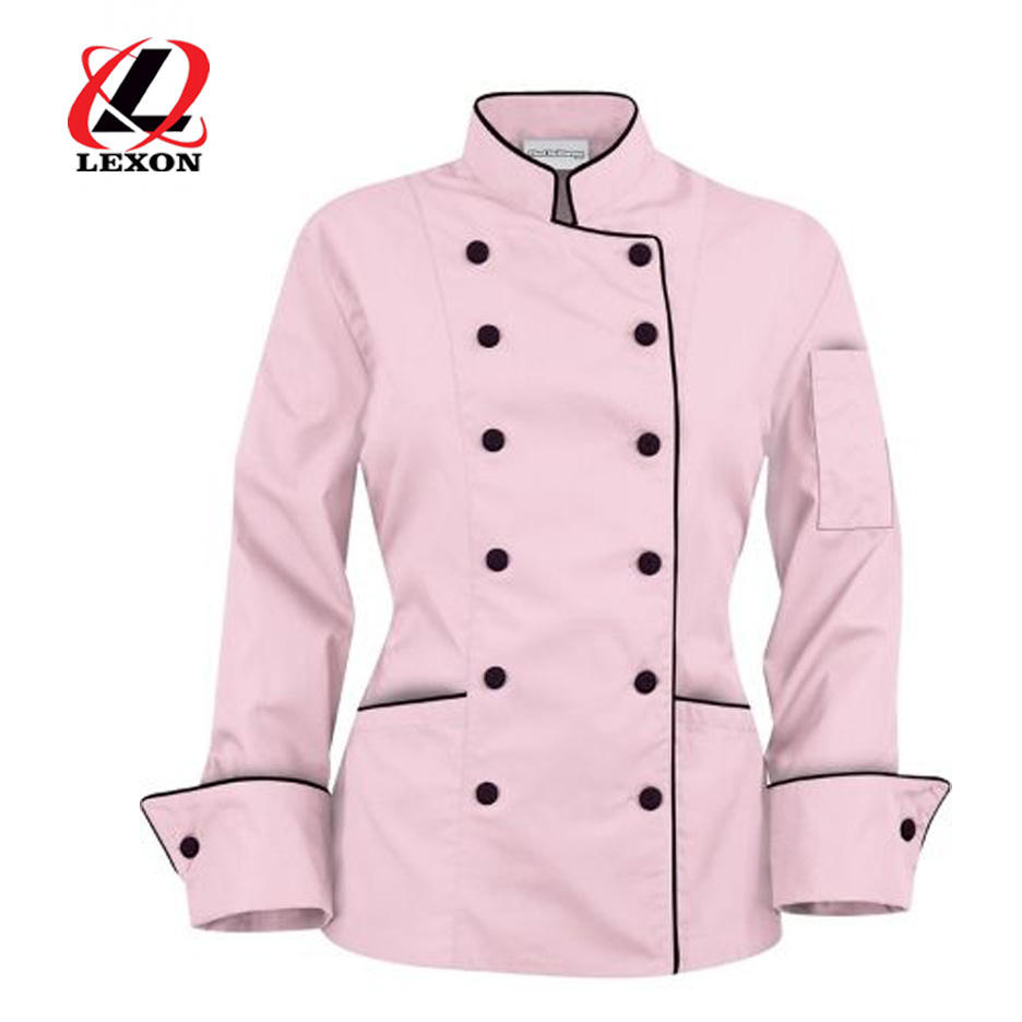 Vrouwen Chef <span class=keywords><strong>Jas</strong></span> Roze Kleur