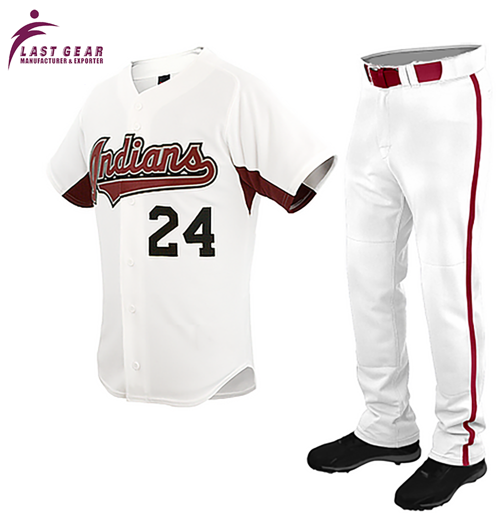 Custom Baseball Front Buttons Shirt Red Stripe Trouser Sublimated Wholesale Blank Baseball Uniforms.