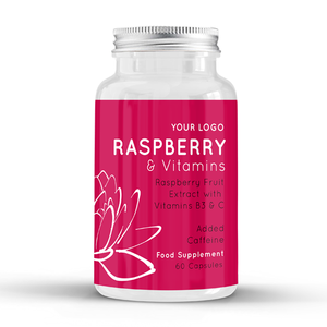 Raspberry Plus Vitamins - Food Supplement - Round Premium Bottle - Private Labelled - Wholesale Diet Supplements