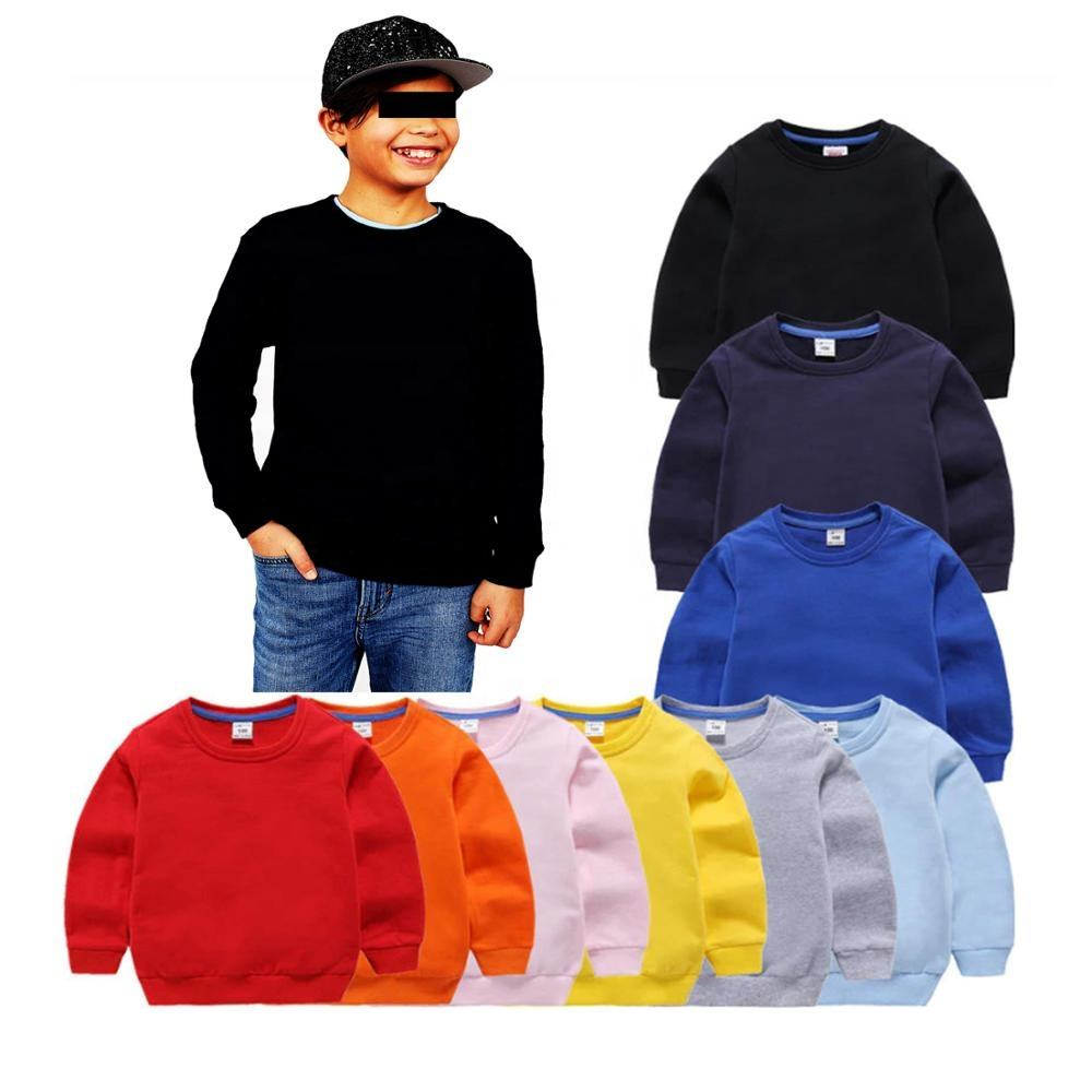 Hight Quality Low MOQ Plain Colors Crewneck Kids Fleece Sweatshirts For Boys