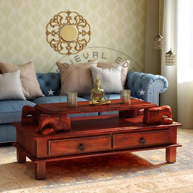Handcrafted Antique Elephants Solid Wood Coffee Table Living Room Furniture Wooden in Honey Oak Finish 30.5 KG