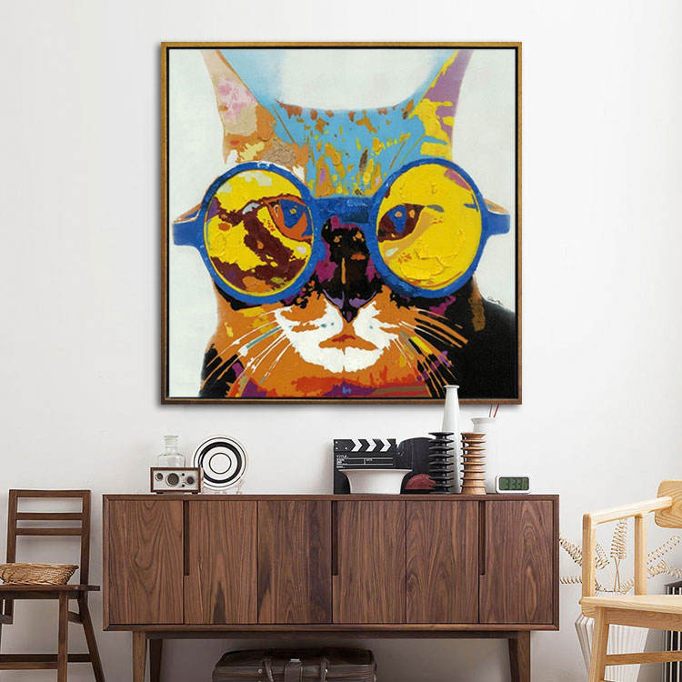 Handmade Heavy Textured Abstract Animal Cat Oil Painting Modern Canvas Art Home Decor