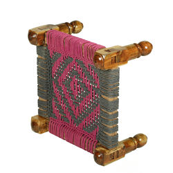 Knitted Chowki	Acacia Wood, Cotton Dori	Hand Made	Grey Pink	Knitted With Cotton Dori		18X18X12