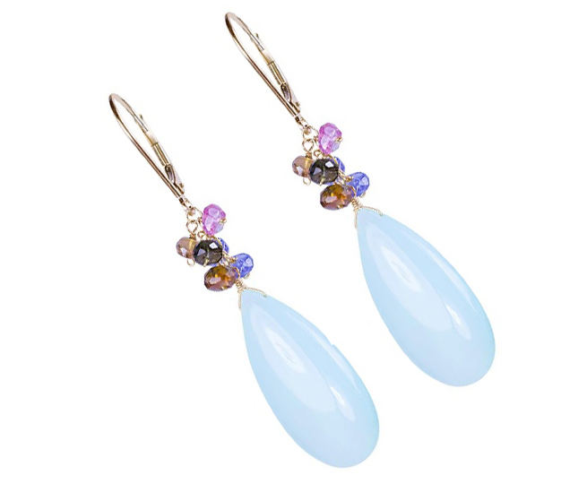 925 silver custom jewelry manufacturers aqua chalcedony earring beaded with amethyst smoky iolite gemstones high quality earring
