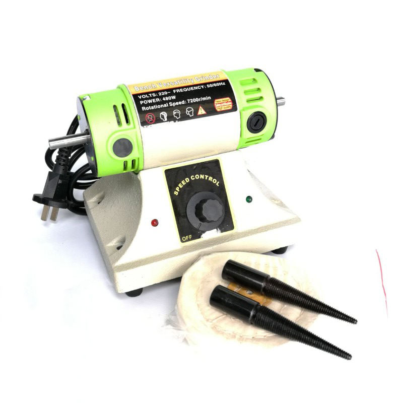 480W Jewelry Tools Bench Grinder Polishing Machine with 2PCS Buff Mops