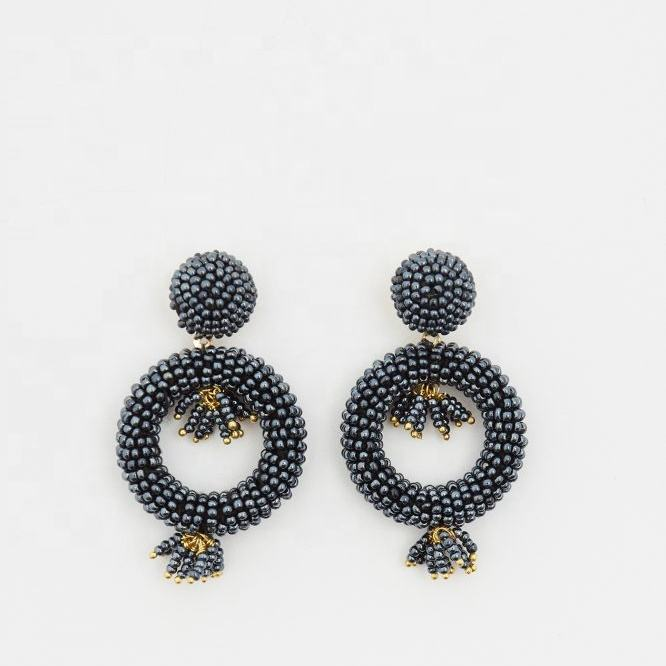 Women Vintage Earring Double Round Japanese Seed Beads Crochet Dangle Earrings Christmas Jewelry Gift Wholesale
