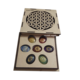 Buy Online Flower Of Life Wooden Chakra Gift Box With Chakra stone