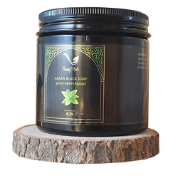 Moroccan Argan black soap with peppermint - Natural detox