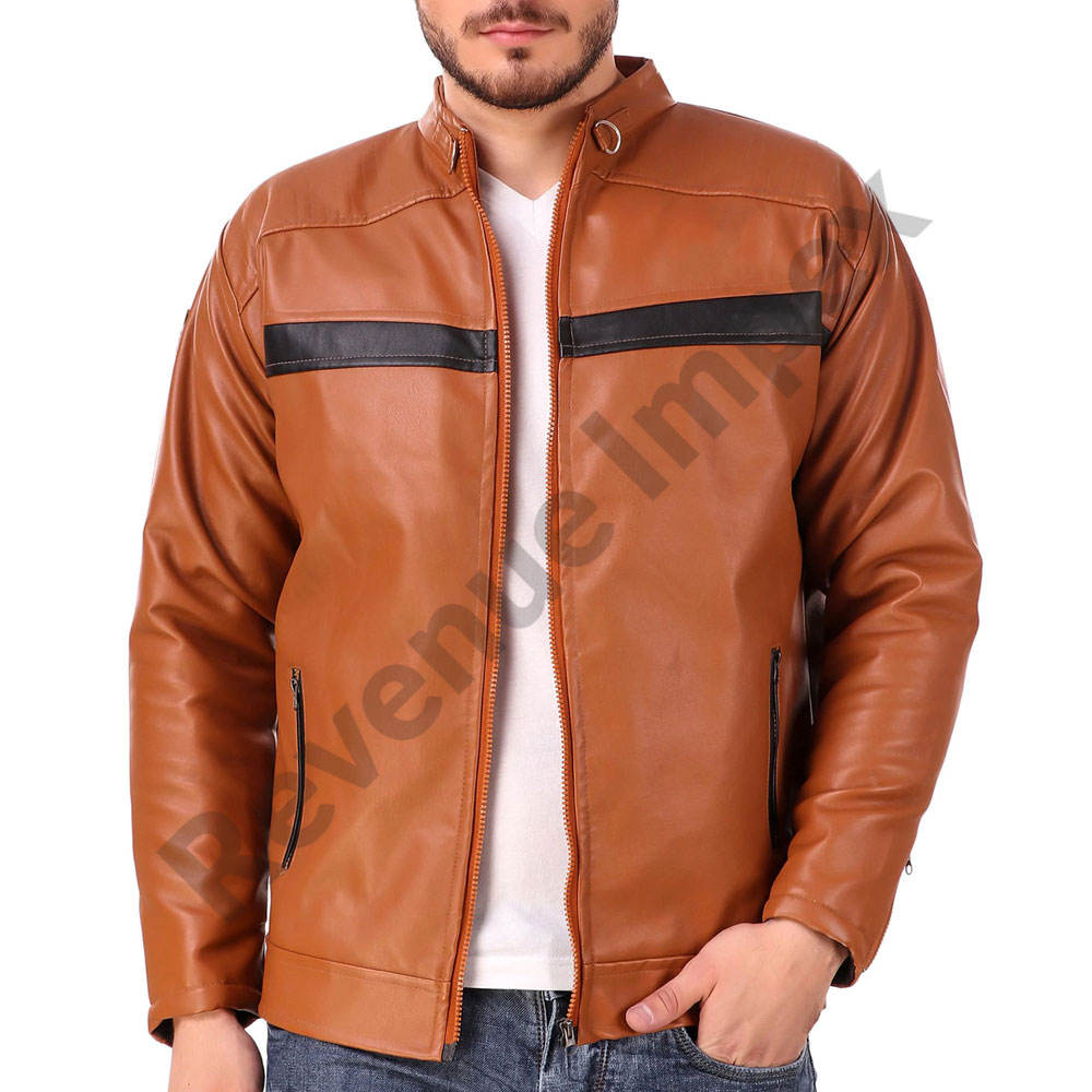 Brown color cowhide leather jacket