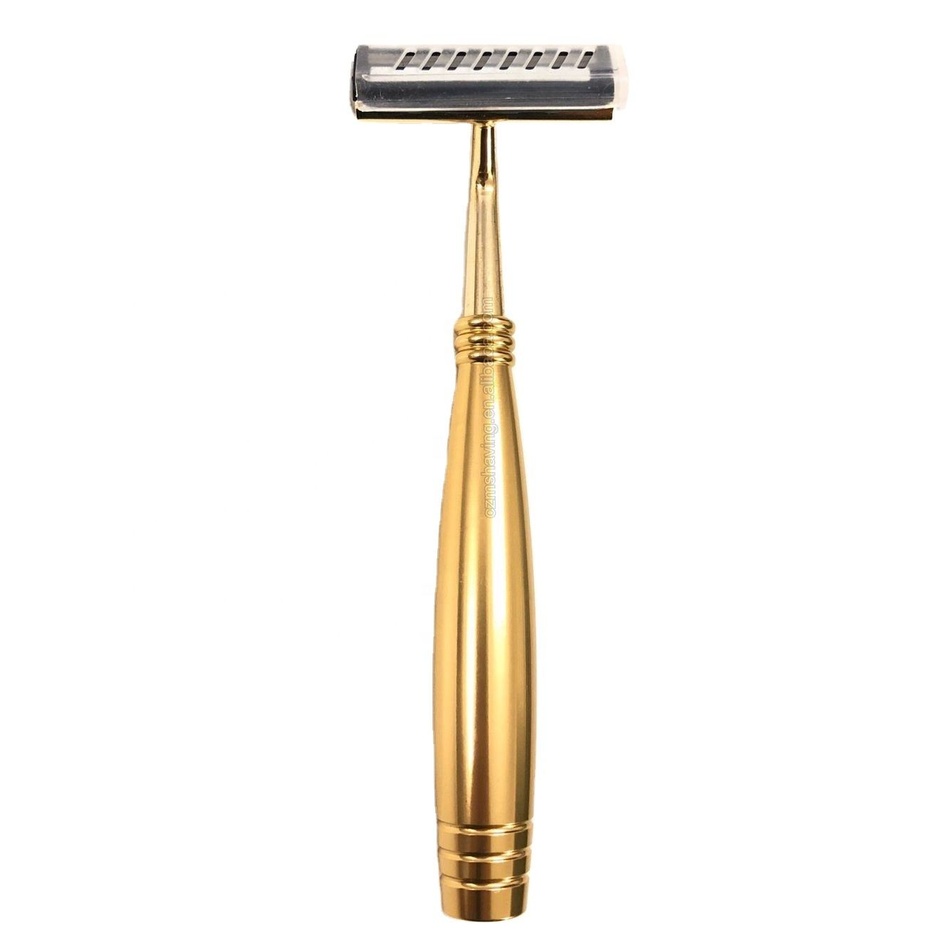 China Factory Best Selling Hotel Supplies Golden Metal Handle Twin Blades Razor For Men Shaving Razor