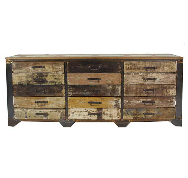 Industrial style vintage furniture mini wood chest of drawers