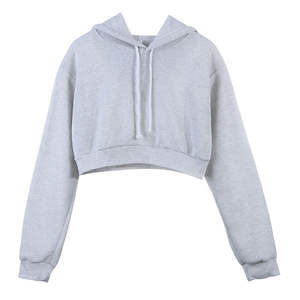 New Arrival Women's Long Sleeves Plain Crop Top Pullover Hoodies