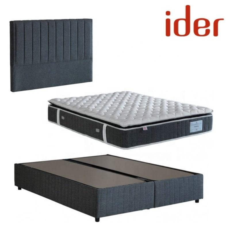 High Quality Affordable Modern Style King or Queen Size Headboard Bed Base and Mattress Set (IDER PADDY BED SET)