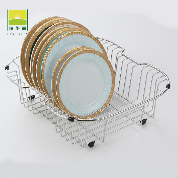 Manufacture High Quality Kitchen Sink Dish Drainer Organizer Metal Drying Dish