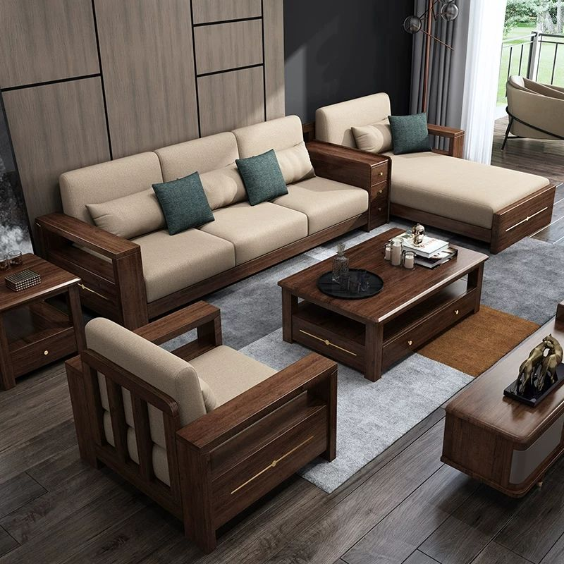 Modern Walnut Wood Furniture Living Room Sofa Set Designs