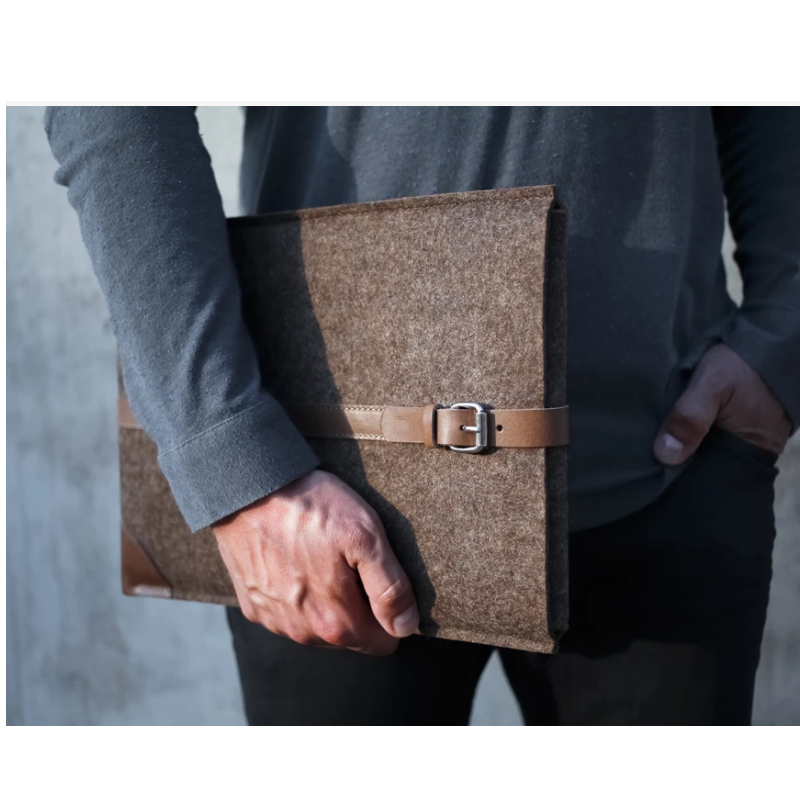 Factory Leather Felt Brown Laptop Sleeve Case Handbag Briefcase Sleeve Case Cover for Mac Book Air Pro