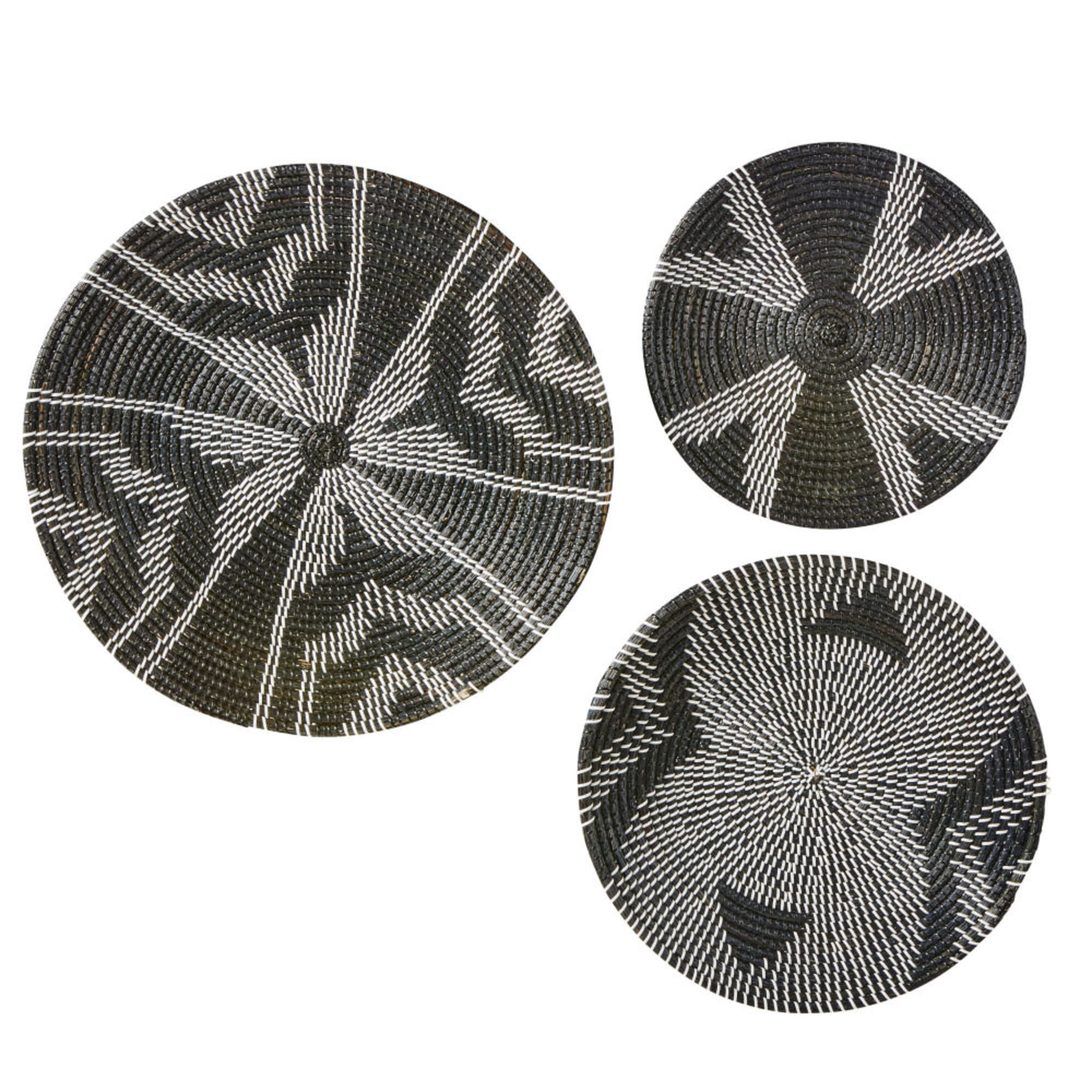 Decorative black seagrass woven placemats wicker wall hanging room decoration baskets