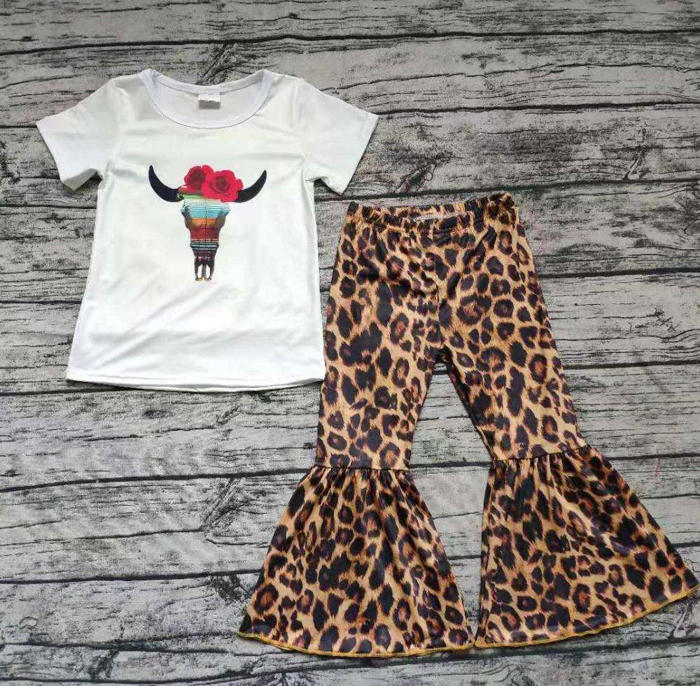 Toddler Girls Clothing Summer New Short Sleeve Cow Print Leopard Bell Bottom Clothes Set 2 pcs Outfit Kids Boutique Wear