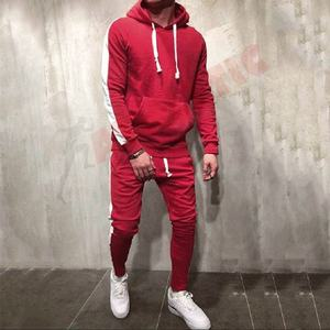 Customized Men Tracksuit/Men Red Sweatsuit/Custom Made Men red Jogging Suit wholesale