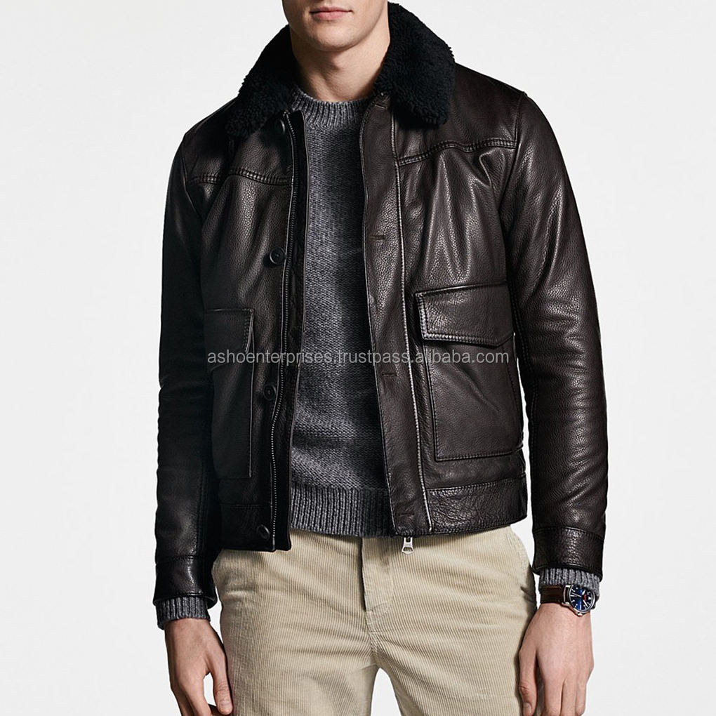 Latest Design Leather Jacket Manufacturers from sialkot Pakistan / fashion leather jackets for men with Faux fur collar