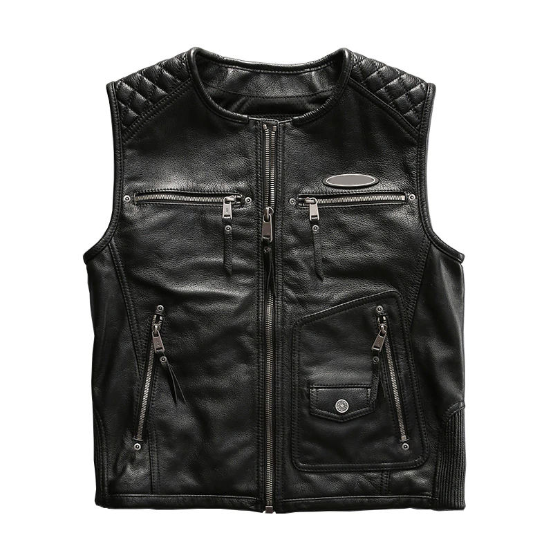 High Quality Motorcycle Men Leather Jacket /Fashion Type Genuine Leather Vest Classic Style