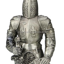 Collectible Indoor Decoration Alloy Metal Medieval Knight with Sword And Shield Figurine