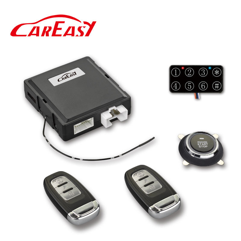 PKE Passive Keyless Entry car alarm push button engine start stop system with remote start and programmable engine run time