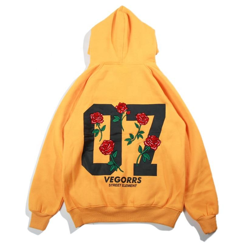 Good Quality Hot Sale Professional unisex Europe Style Street Hoodie Wholesale Embroidered Floral Casual Hoodie Men