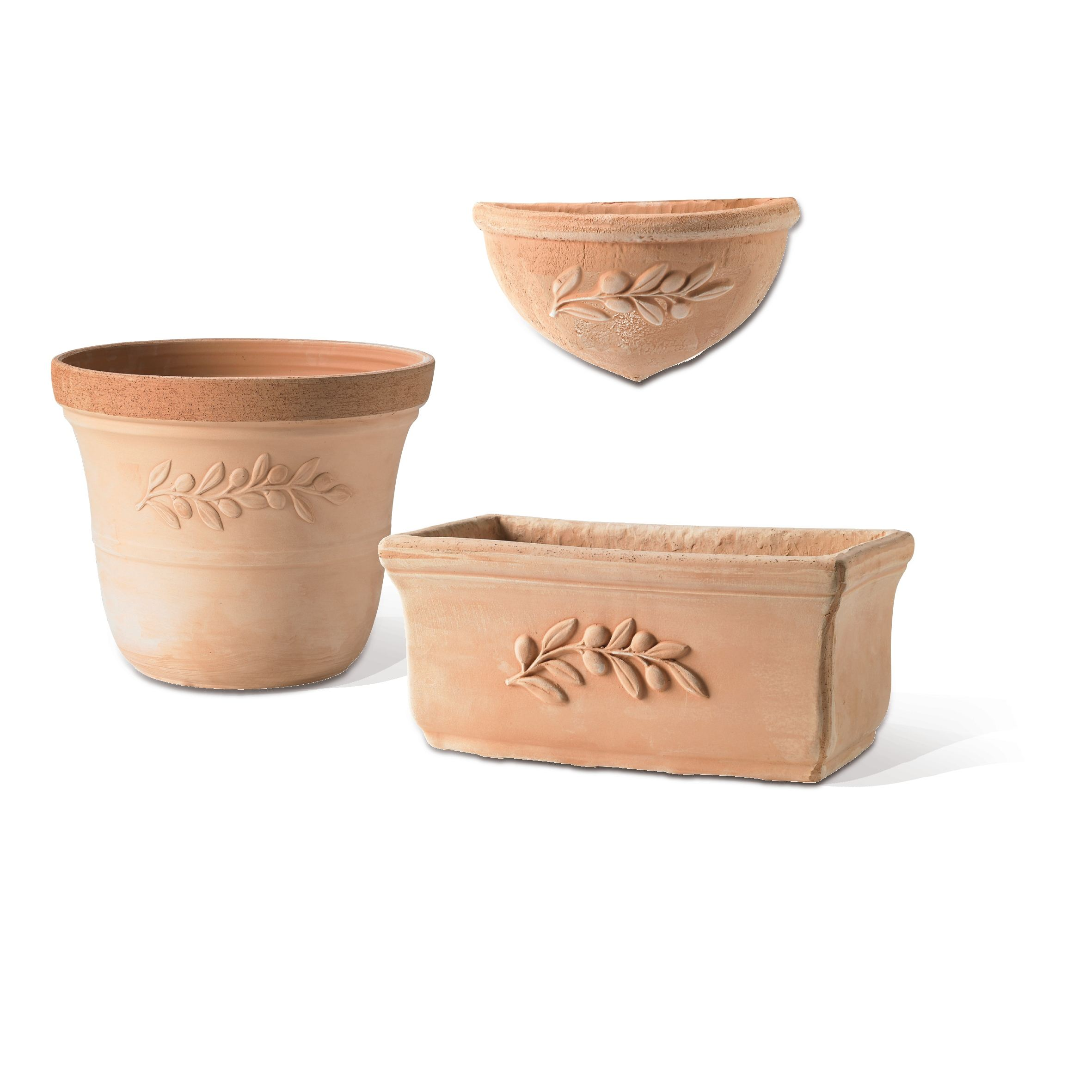 High Quality Galestro Clay Outdoor Flower Pot Olive Round H87020 Handmade Made in Italy