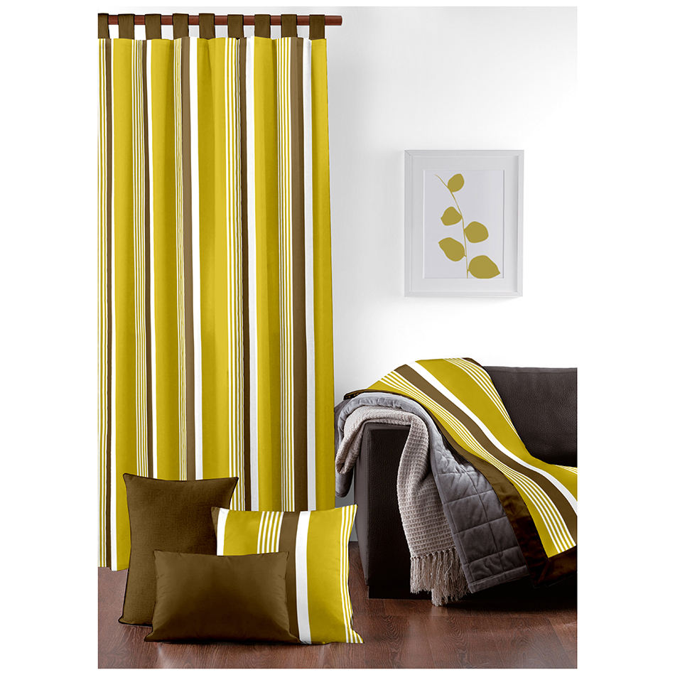 Wholesale Yellow Colored Striped Printed Restaurant Curtains/Kitchen Curtains