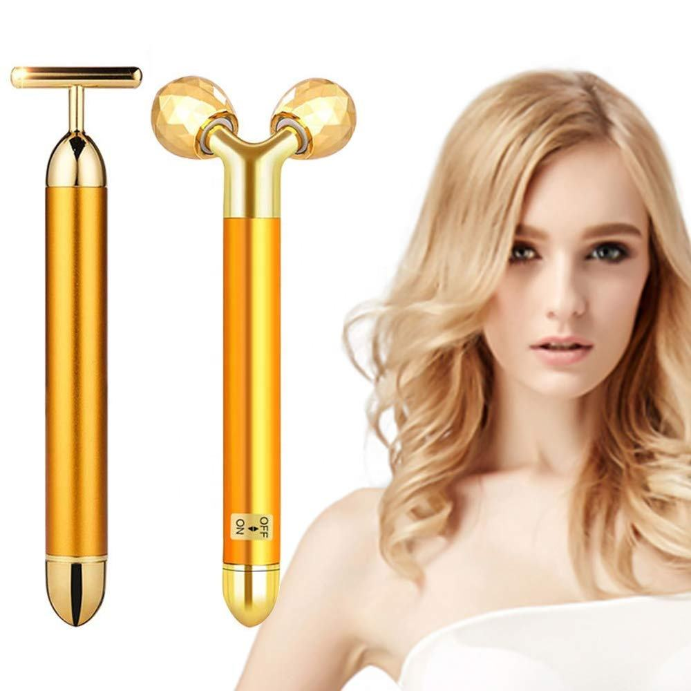 3D Gold Electric Face Massager 24K Golden Beauty Bar Facial Massager Roller