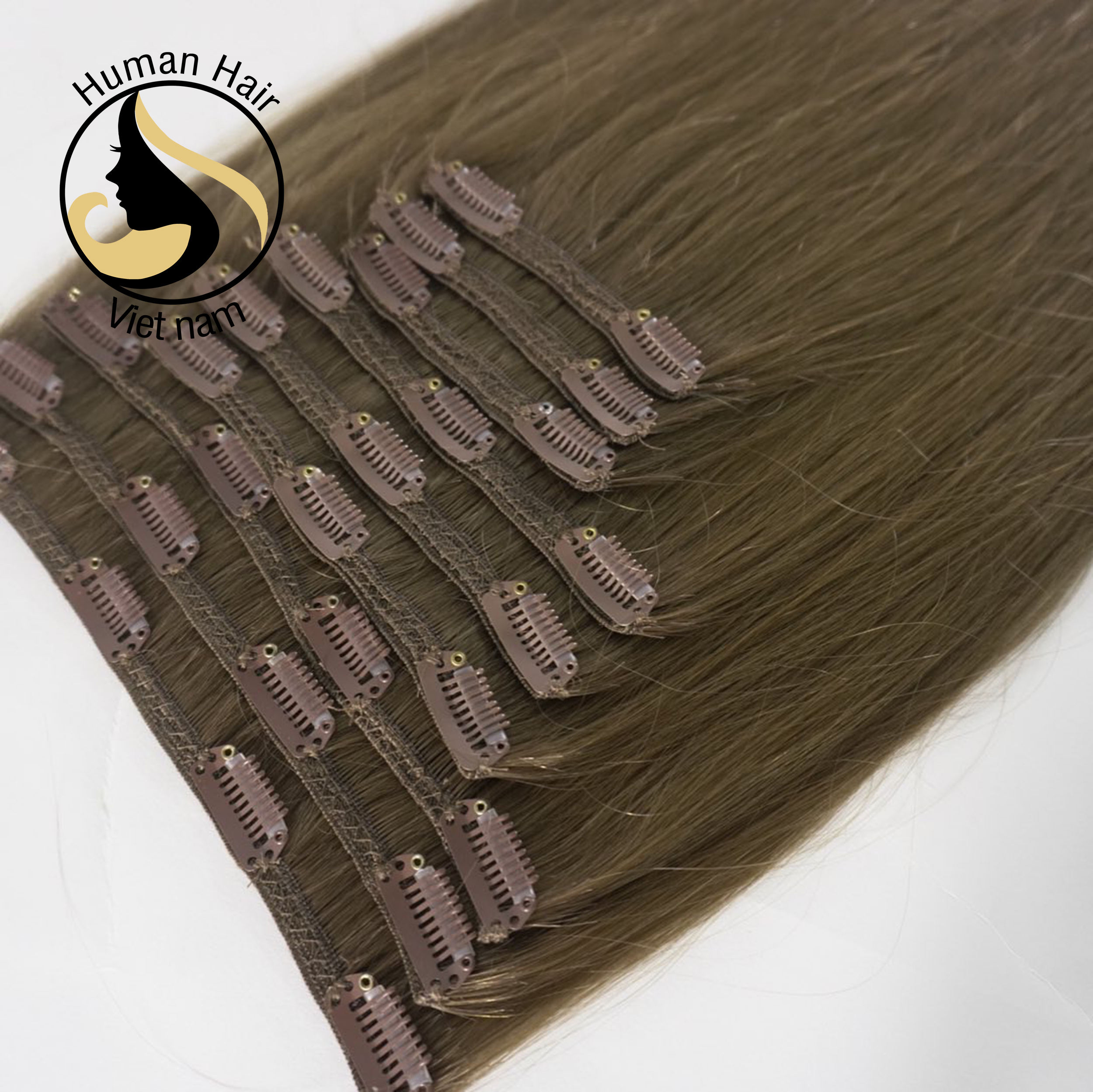 Double drawn extensions 100% remy human hair 100g clip in hair of Human Hair Vietnam