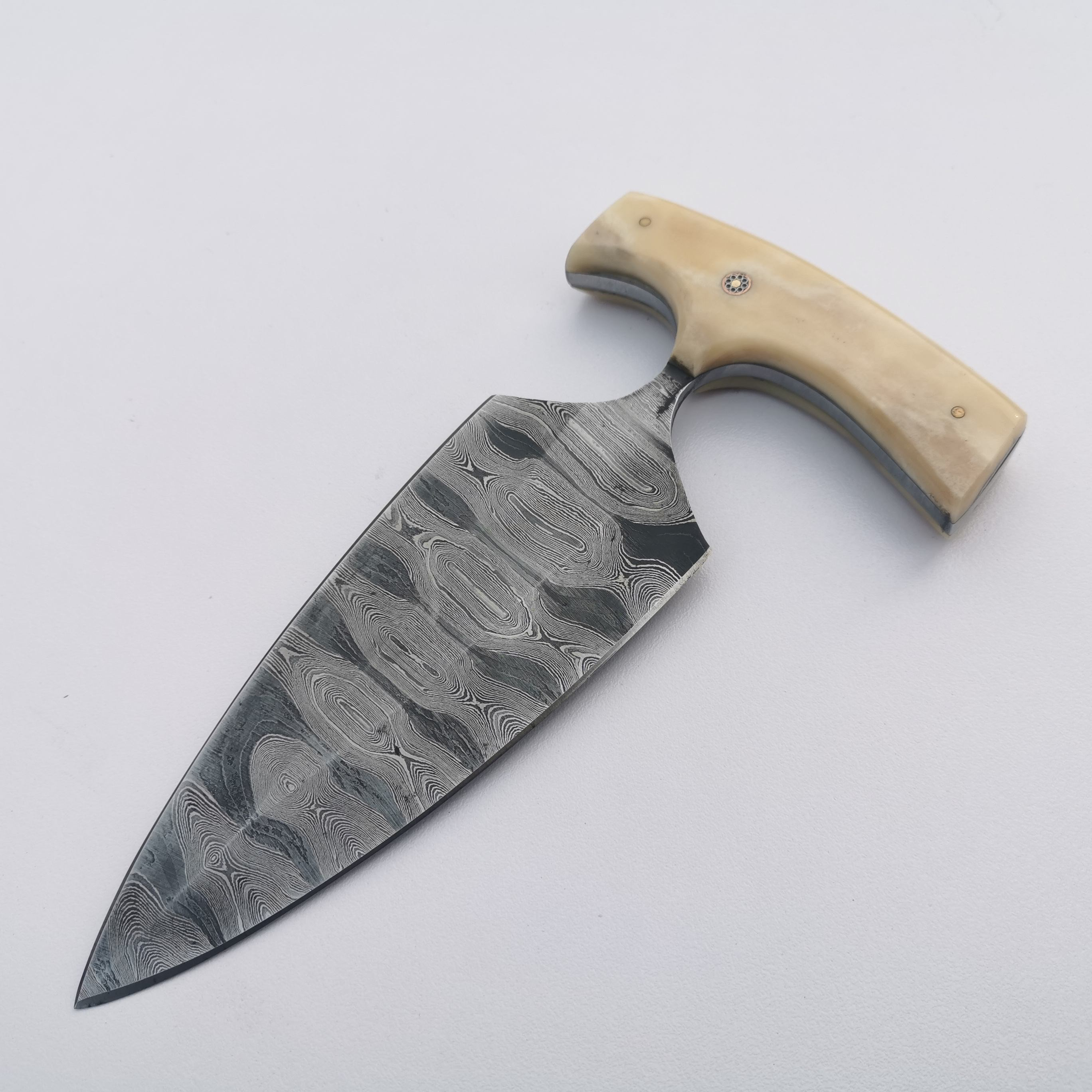 Custom Made High Quality Punch Knife with Genuine Leather Sheath, Best Punch Knife, Damascus Knife