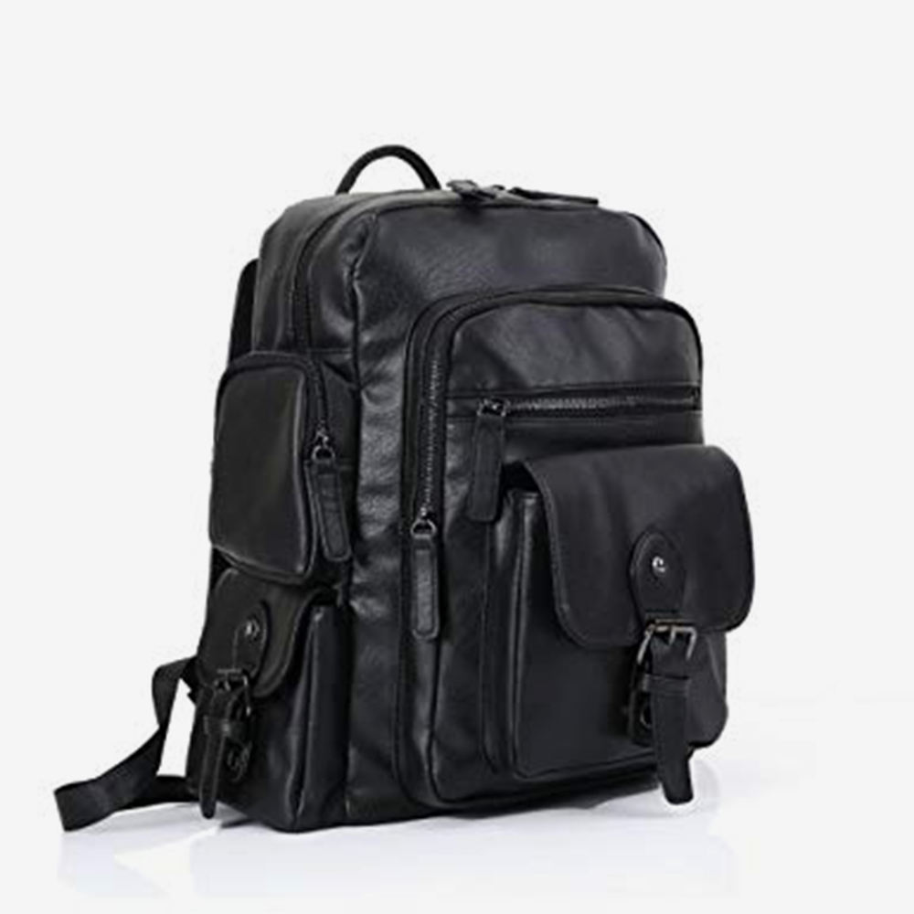 Professional leather travel bags tourist bag packs with anti theft zip