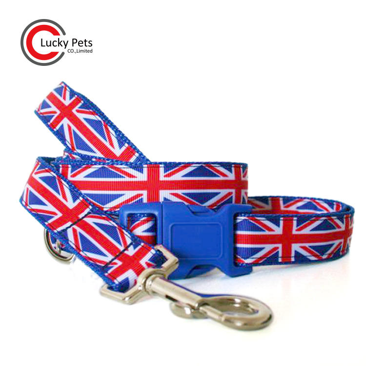 Adjustable British flag European dog leash and collar UK