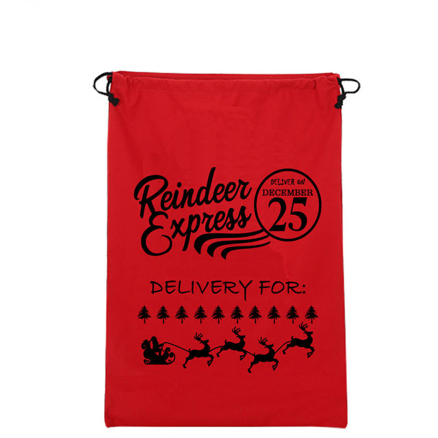 In Christmas Printing Drawstring Red cotton bag with printing Our Certification ISO9001-2015 14001-2015 SA8000-2014