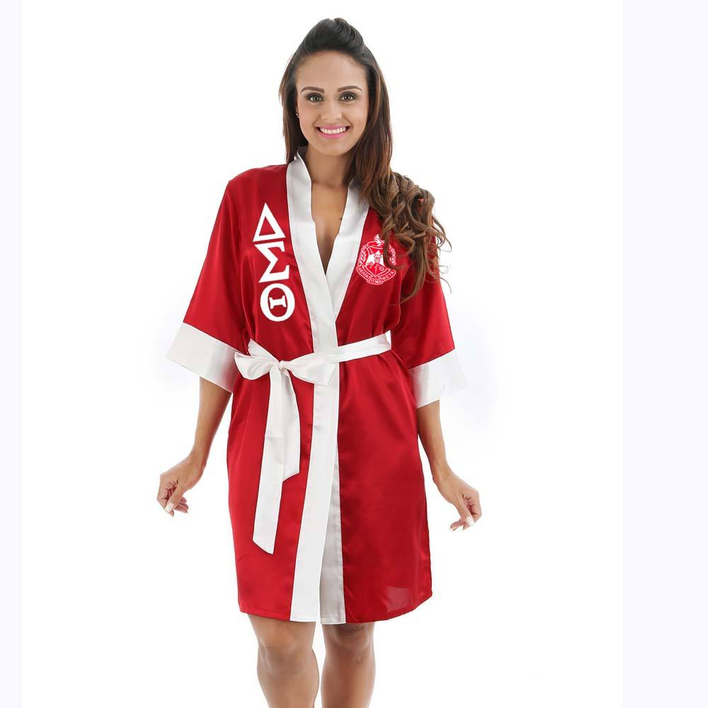 CUSTOM Made/ oem logo polyester Satin boxing robe with hood DST Sorority Fraternity Delta Sigma Theta Robe