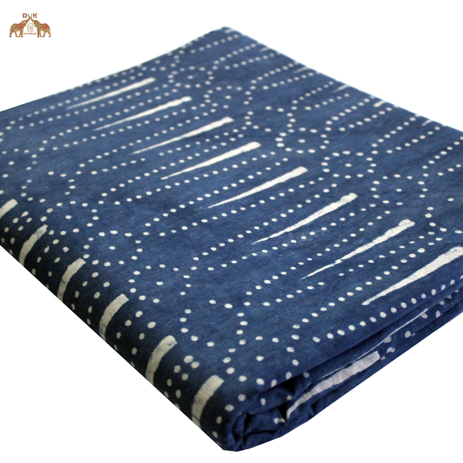 Vegetable Dyed Hand Block Printed Cotton Dabu Fabric Natural Cotton Indigo Fabric