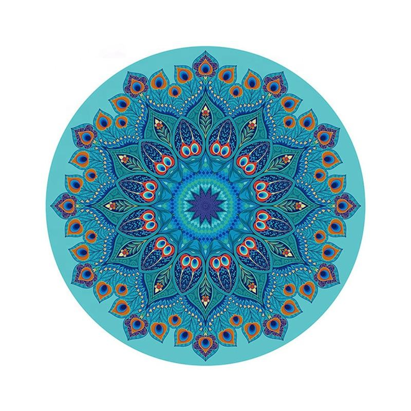 1.4 meters in diameter, 3mm thick round meditation mat, suede rubber mat printed yoga mat can be customized