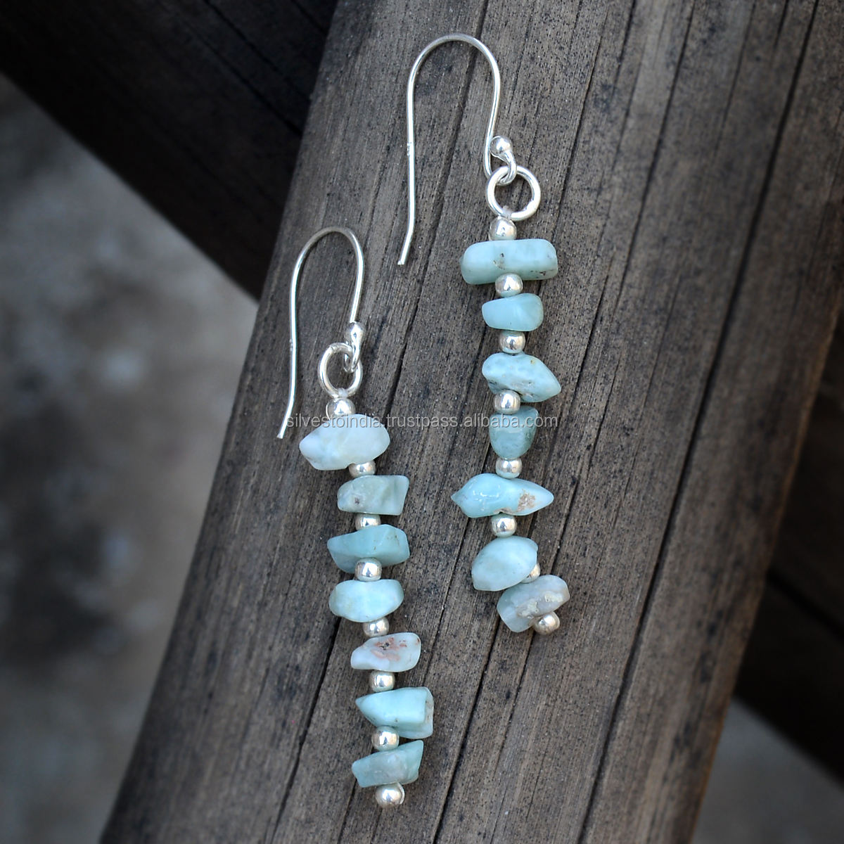 Natural Larimar Uncut Chips Gemstone And Silver Balls Dangle Drop Fashion Earring 925 Sterling Silver Jewelry For Women