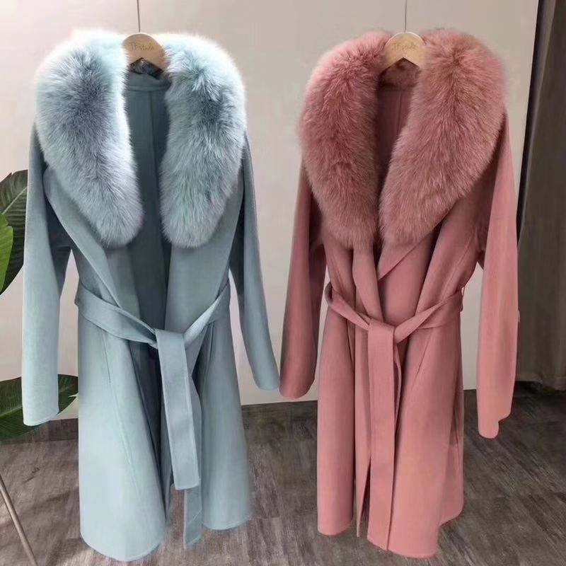 Good quality OEM custom women winter peacoat plus size real fox fur wool long coat ladies cashmere wool coat with fur