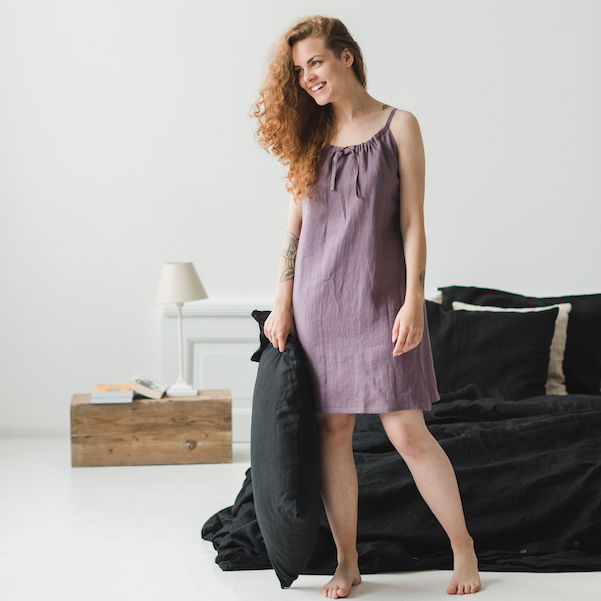 Linen Nightdress, Romantic Linen Nightgown, Natural Women Sleepwear