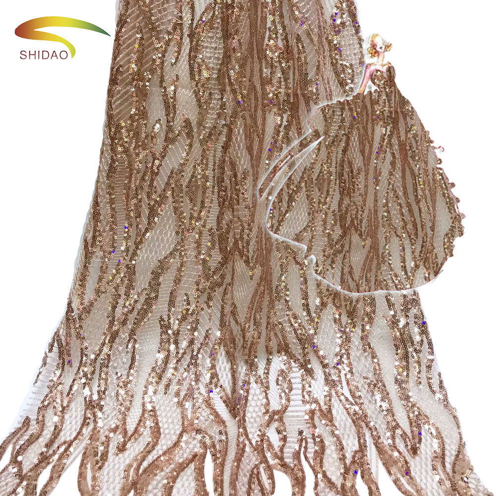 Afrika Net Renda Payet Bordir Warna Tulle Bridal Lace Fabric untuk Wedding Dress