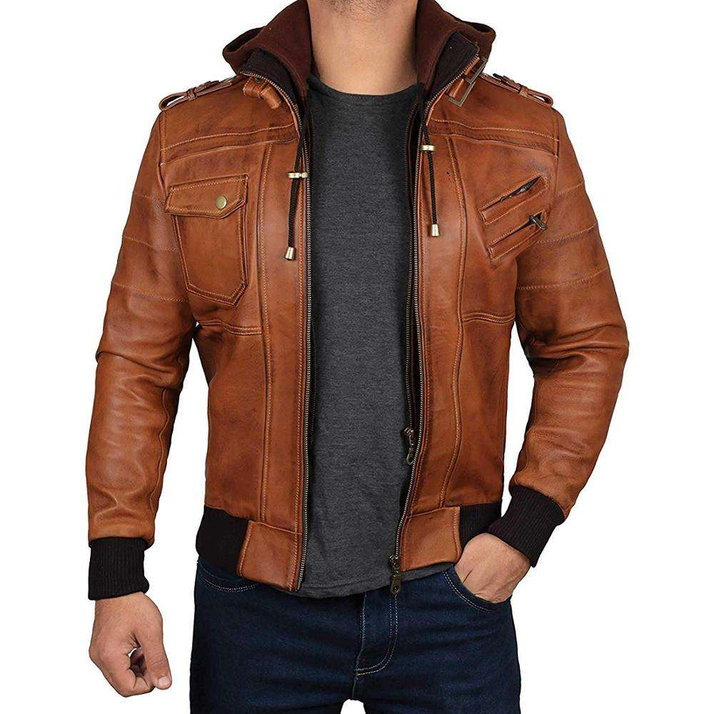Genuine Leather Bomber Jacket with Removable Hood - 100% Real Lambskin Hand Waxed Leather - Hot Selling Jacket Made In Pakistan