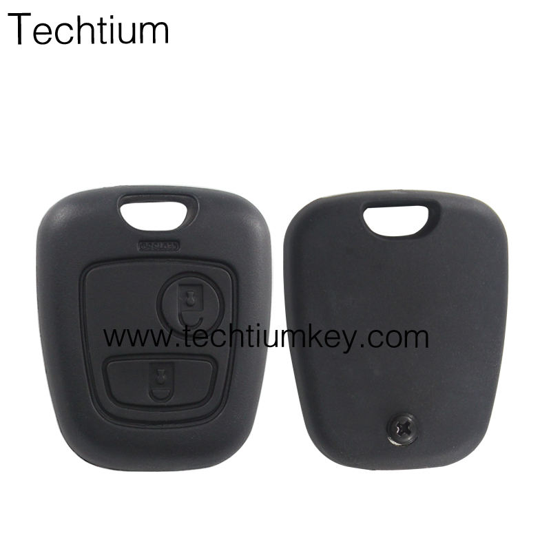 shipping free and hight quality screw and 2 button remote keys shell case for Peugeot SX9(TOY43) blade remote key fob
