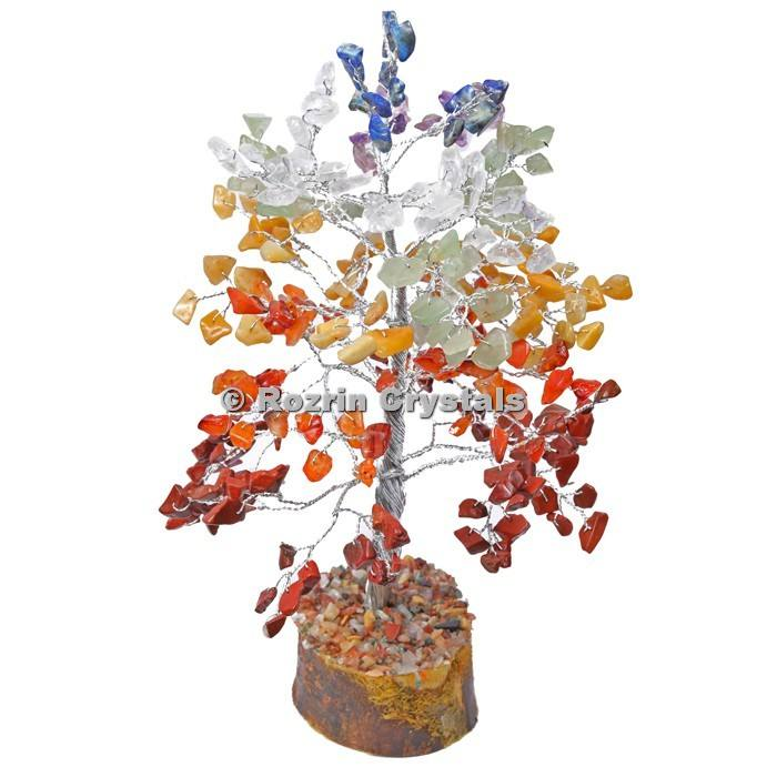 Buy Available in huge Stock Precious Christmas Crystal Stone 7 Chakra Stone Silver Wire 300 Chips Tree