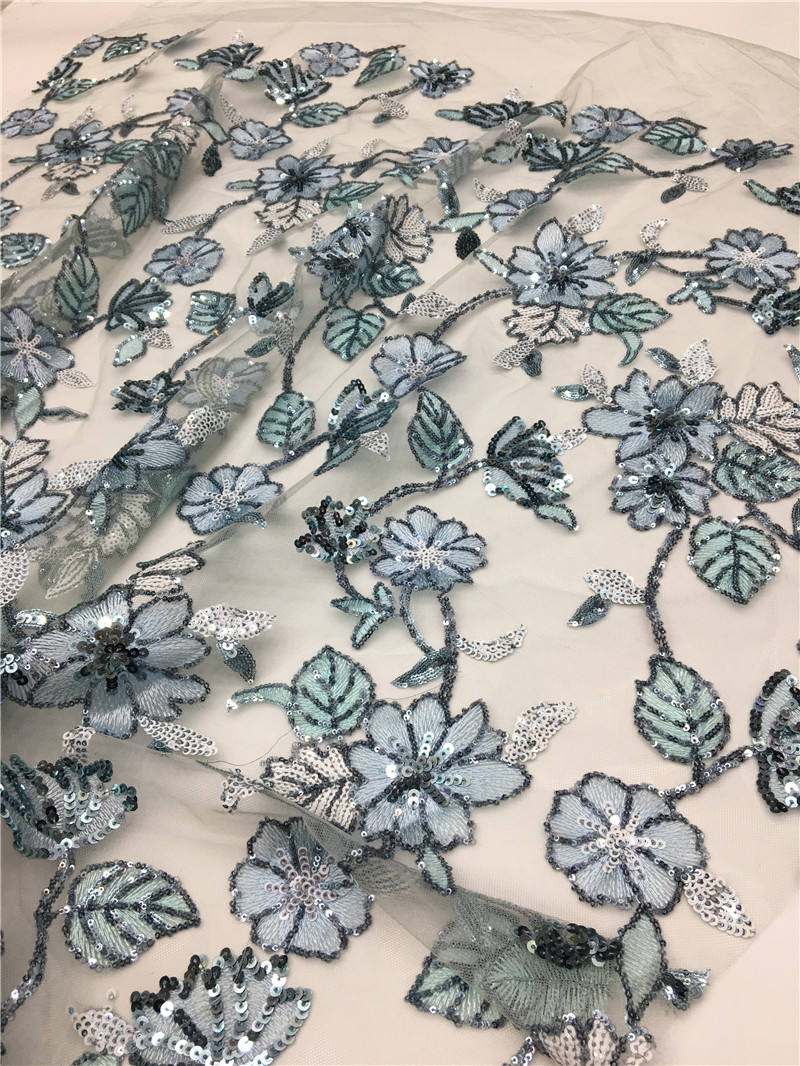 Embroidery Lace Fabric Sequins Freshen Flower Pattern Multi-color Double Sequin Embroidery Mint Green Lace Fabric Cotton Lace Fabric Embroidery